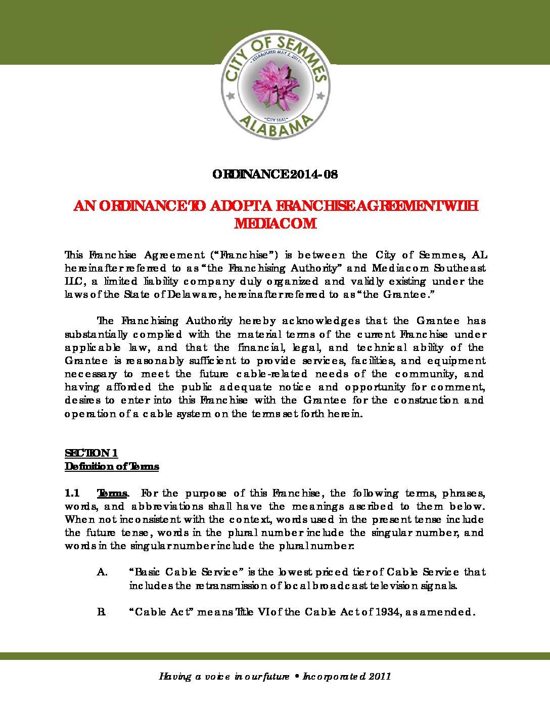 2014 08 Franchise Agreement With Mediacom City Of Semmes Alabama
