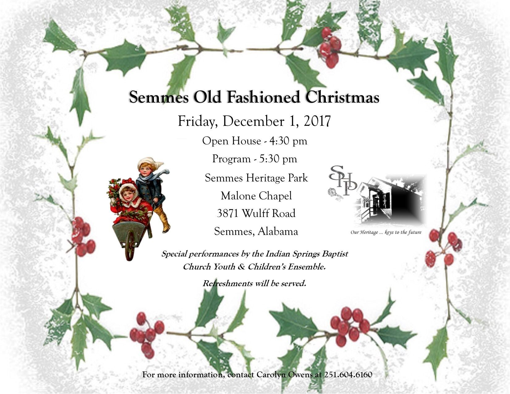 """Sixteenth Annual """"Semmes Old Fashioned Christmas Celebration – City ..."""